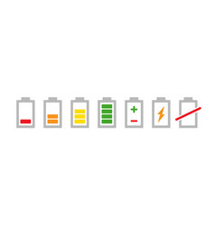 colored battery indicators icon set charge level vector image