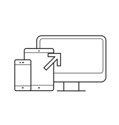 Computer monitor tablet phone devices line icon vector