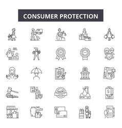 Consumer protection line icons signs set vector