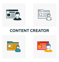 content creator icon set four elements in vector image