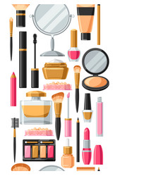 cosmetics for skincare and makeup seamless vector image