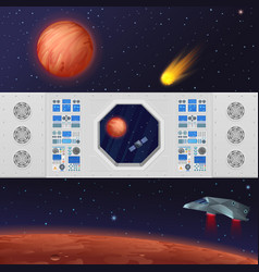 Dashboard with spaceship vector
