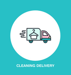 Delivery colored flat line icon fast dry cleaning vector