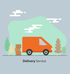 delivery service concept van and cardboard boxes vector image