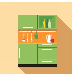 Digital picture green and orange kitchen vector image