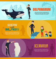 Dolphinarium show banners set vector