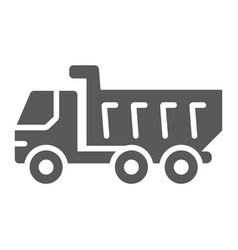 dump truck glyph icon vehicle and construction vector image