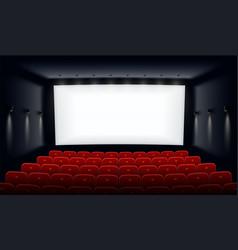 Empty cinema hall with white vector