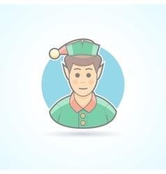 Fairy elf Santa assistant minion icon vector image