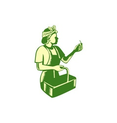 Female Fruit Picker Worker Basket Woodcut vector