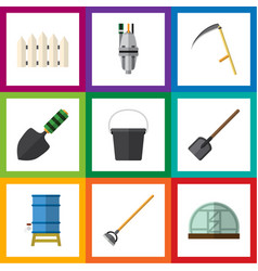 flat dacha set of container tool pump and other vector image