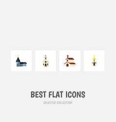 Flat icon building set of structure christian vector