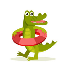 flat icon of crocodile with red inflatable vector image
