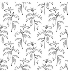 floral seamless pattern with foliage sketch art vector image