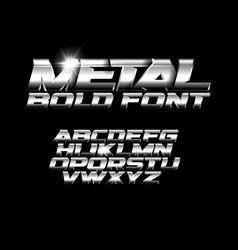 font with metallic texture chrome alphabet wide vector image