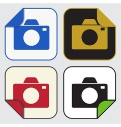 four square sticky icons - camera vector image