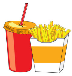 French fries and a glass of drink vector