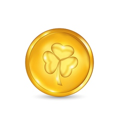 Golden coin with three leaves clover St Patricks vector image