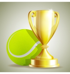 Golden trophy cup with a tennis ball vector
