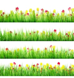 Grass And Flower Set Isolated On White EPS 10 vector image