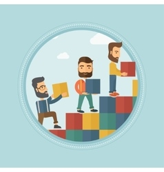Group of businessmen building ladder to success vector image