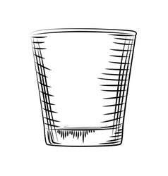 Hand drawn old fashioned glass isolated on white vector