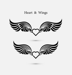 heart logo with angel wings logo design vector image