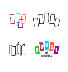 house mirrors logo set funhouse with mirrors vector image