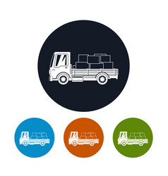 icons small cargo truck with boxes vector image
