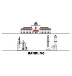 Indonesia bandung flat landmarks vector