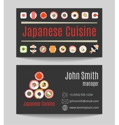 Japanese cuisine restaurant black business card vector
