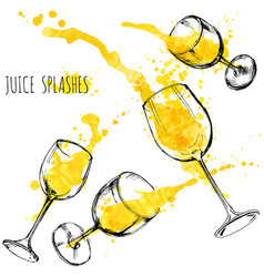 juice orange and apple splashes in wine glasses vector image