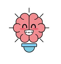 Kawaii cute tender brain bulb idea vector