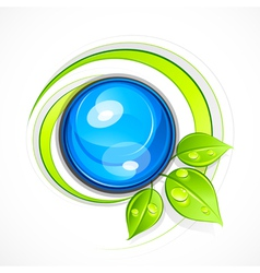 leafy green eco button vector image