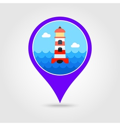 Lighthouse pin map icon Summer Marine vector