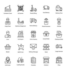Logistic services line icons pack vector