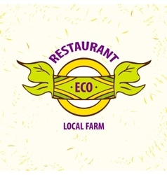 Logo eco restaurant cafe Local farm vector
