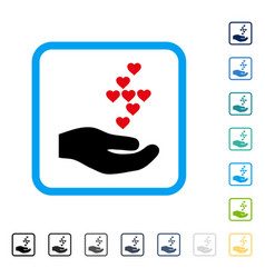 Love hearts offer hand framed icon vector