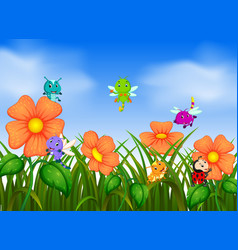 many insect flying in flower garden vector image