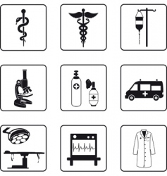 Medical symbols and equipment vector