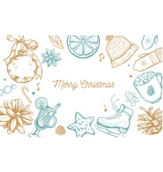 Merry christmas and new year holidays collection vector
