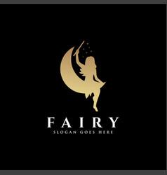 moon and magic fairy logo icon template vector image