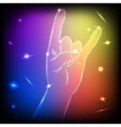 Neon Hand Rock vector