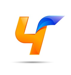 Number four 4 logo orange and blue color with fast vector image