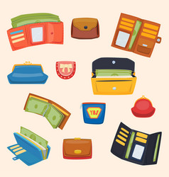 Open purse leather wallet with money shopping vector