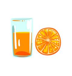 Orange fruit juice glass of natural vegetarian vector