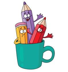 pencils in a mug vector image