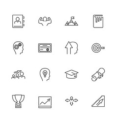 Personal development- flat line icons vector