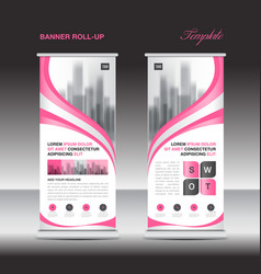 Pink roll up banner template stand display vector