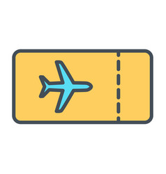 plane ticket line icon simple minimal pictogram vector image